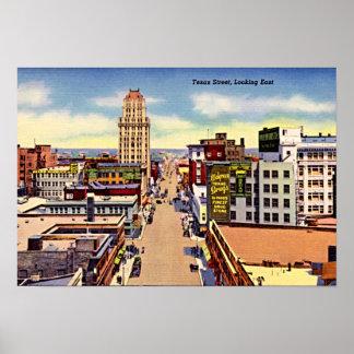 Calle céntrica 1940 de El Paso, Tejas Tejas Póster