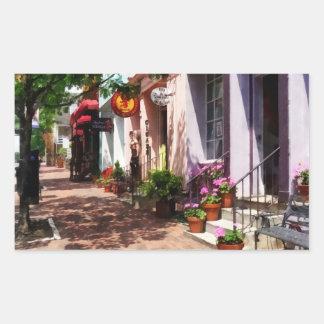 Calle con la galería de arte y el estanquero pegatina rectangular