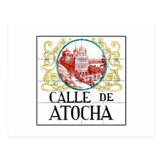 Calle de Atocha, Madrid Street Sign Postcard