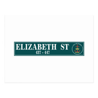 Calle de Elizabeth, Sidney, placa de calle Postales