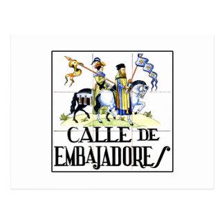 Calle de Embajadores, Madrid Street Sign Postcard
