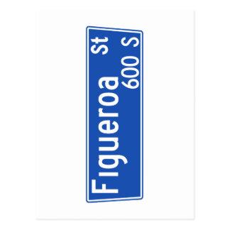 Calle de Figueroa, Los Ángeles, placa de calle de Postales