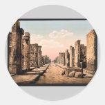 Calle de Fortuna, vintage Photochrom de Pompeya, Etiquetas Redondas