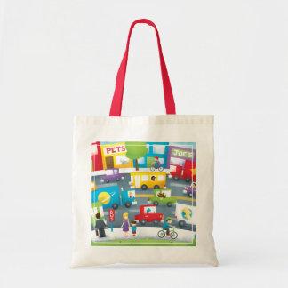 Calle de la ciudad bolsa tela barata