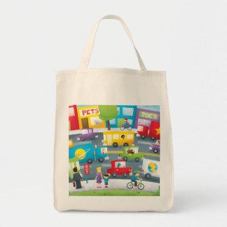 Calle de la ciudad bolsa tela para la compra