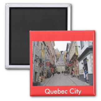 Calle de la ciudad de Quebec Imán Cuadrado