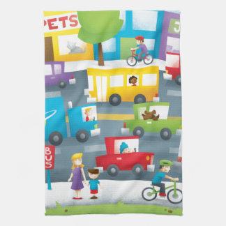 Calle de la ciudad toalla de cocina