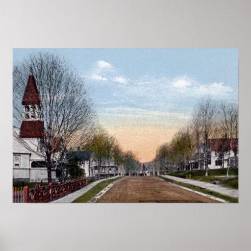 Calle de la iglesia de Nueva York del lago Saranac Poster