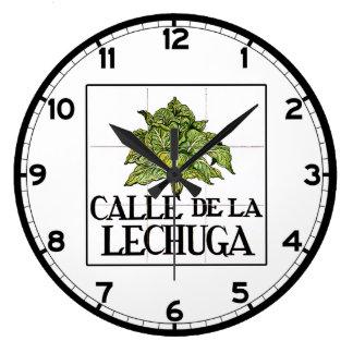 Calle de la Lechuga, Madrid Street Sign Large Clock