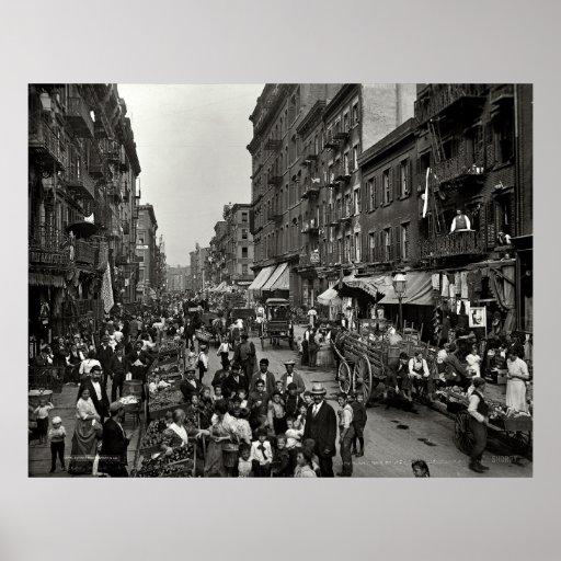 Calle de la mora en New York City, CA 1900 Poster