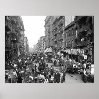 Calle de la mora, NYC, 1900 Póster