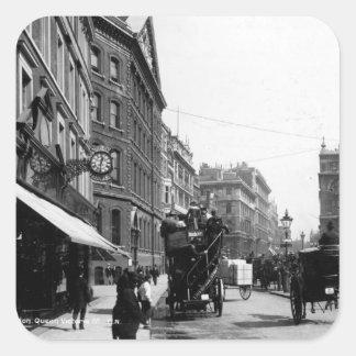 Calle de la reina Victoria, Londres, c.1891 Calcomanías Cuadradass