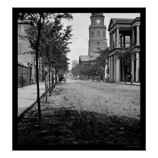 Calle de la reunión en Charleston SC 1865 Poster