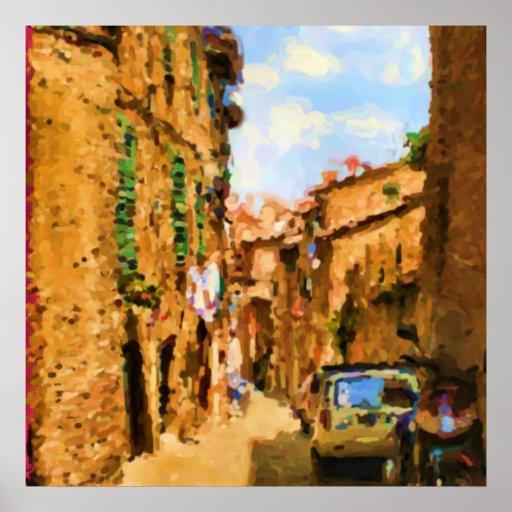 Calle de la tierra de Siena al mediodía Posters