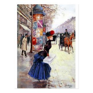 Calle de la travesía de la mujer en París Postales