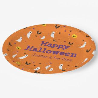 Calle de las celebraciones - Halloween (naranja) Plato De Papel De 9 Pulgadas
