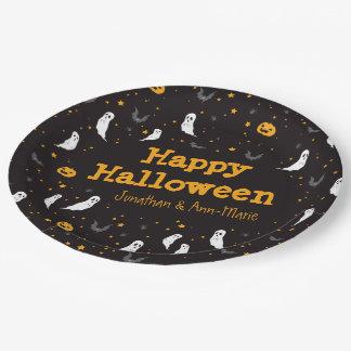 Calle de las celebraciones - Halloween (negro) Plato De Papel De 9 Pulgadas