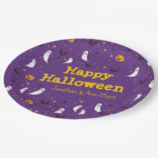 Calle de las celebraciones - Halloween (púrpura) Plato De Papel De 9 Pulgadas