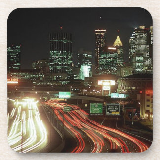 Calle de las noches GA Fulton de Atlanta del vinta Posavasos