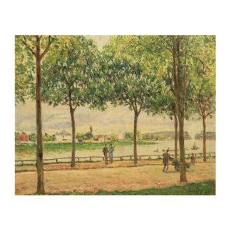 Calle de los árboles de castaña española por el rí cuadro de madera