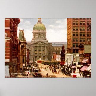 Calle de mercado del oeste de Indianapolis Indiana Posters