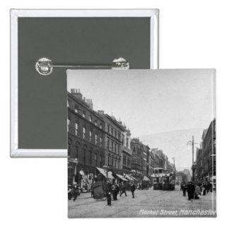 Calle de mercado, Manchester, c.1910 2 Pin Cuadrado
