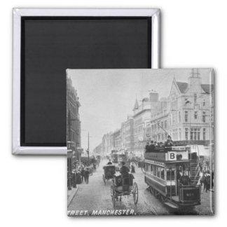 Calle de mercado, Manchester, c.1910 Imán Cuadrado