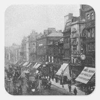Calle de mercado, Manchester, c.1910 Pegatinas Cuadradases
