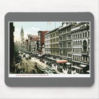 Calle de mercado, Philadelphia, PA Tapetes De Ratón