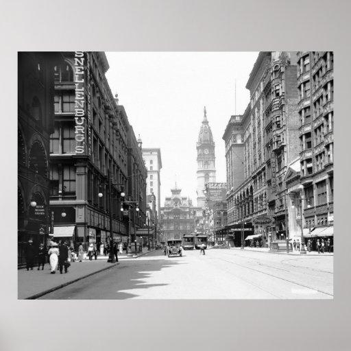 Calle de mercado, Philly, los años 10 Póster
