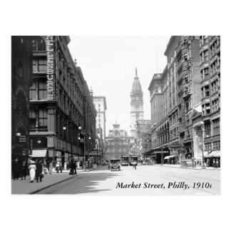 Calle de mercado, Philly, los años 10 Tarjeta Postal