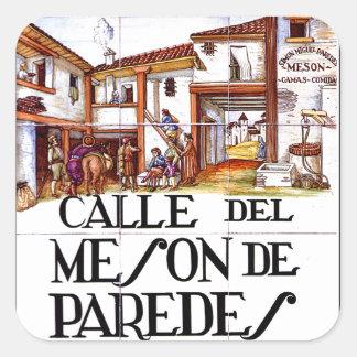 Calle de Meson de Paredes placa de calle de Madri Calcomania Cuadradas