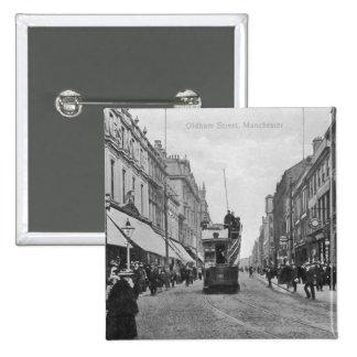 Calle de Oldham, Manchester, c.1910 Pin Cuadrado