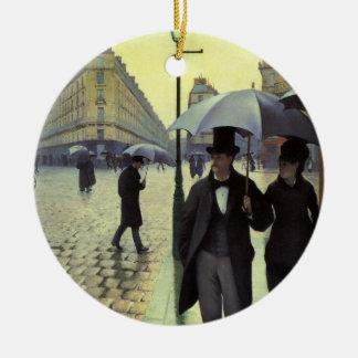 Calle de París, día lluvioso de Gustave Adorno Redondo De Cerámica