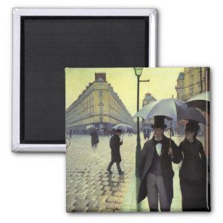 Calle de París día lluvioso de Gustave Imanes De Nevera