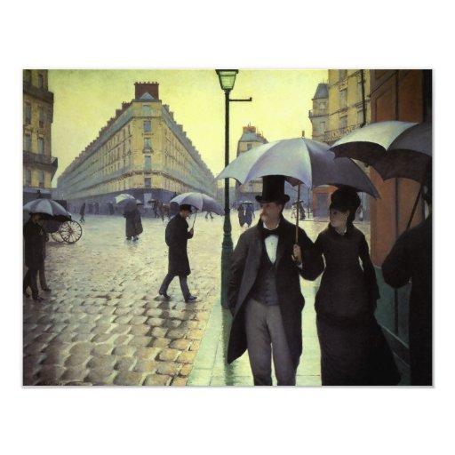 Calle de París, día lluvioso de Gustave Invitación 10,8 X 13,9 Cm