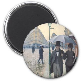 Calle de París; Día lluvioso Imán Redondo 5 Cm