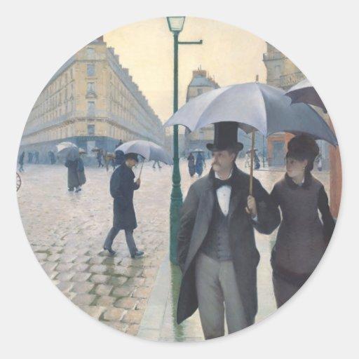 Calle de París; Día lluvioso Pegatina Redonda