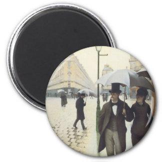 Calle de París, día lluvioso por Caillebotte Imanes De Nevera