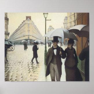 Calle de París día lluvioso por Caillebotte Poster