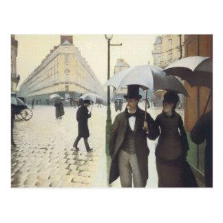Calle de París, día lluvioso Postal