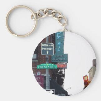 Calle de Philadelphia Llavero Redondo Tipo Pin