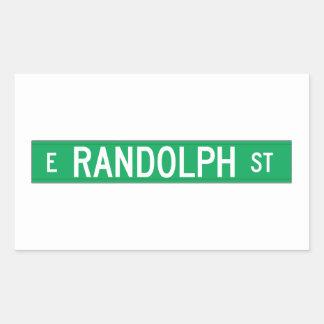 Calle de Randolph, placa de calle de Chicago, IL Pegatina Rectangular