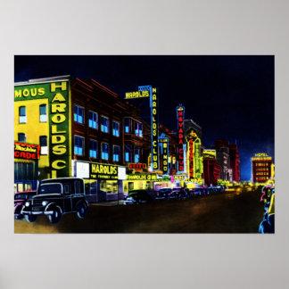 Calle de Reno Nevada Virginia en la noche Impresiones
