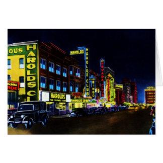 Calle de Reno Nevada Virginia en la noche Tarjeta De Felicitación