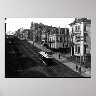 Calle de San Francisco con el teleférico 1901 Póster