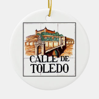 Calle de Toledo, Madrid Street Sign Double-Sided Ceramic Round Christmas Ornament