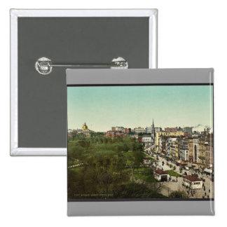 Calle de Tremont, obra clásica Photochrom de Massa Pin Cuadrada 5 Cm