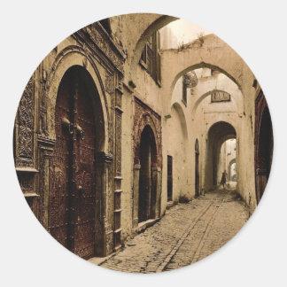 Calle de Tresure obra clásica Photochrom de Túnez Pegatina Redonda