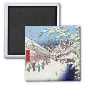 Calle de Yabu debajo de Atago - Ando Hiroshige Imán Cuadrado